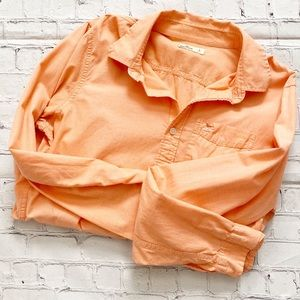 Men's Hollister Coral Long Sleeve Button Down
